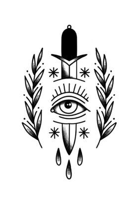 knife doodle icon, traditional tattoo black illustration