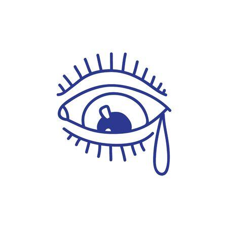 eye doodle icon, traditional tattoo black illustration 向量圖像