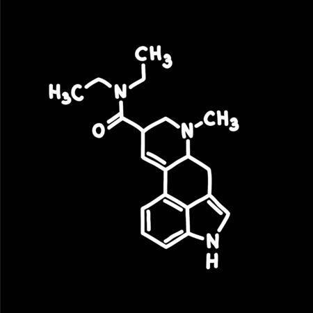 chemical formula lsd doodle icon, vector color illustration