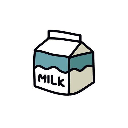 carton of milk doodle icon, vector color illustration