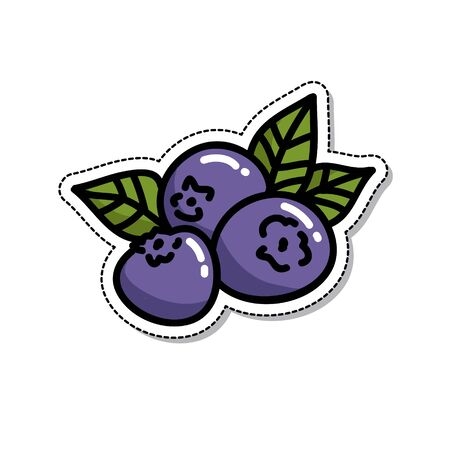 blueberry doodle icon, vector color illustration