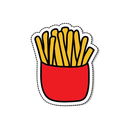french fries doodle icon, vector color illustration