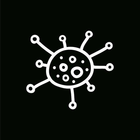 coronavirus doodle icon, vector color illustration