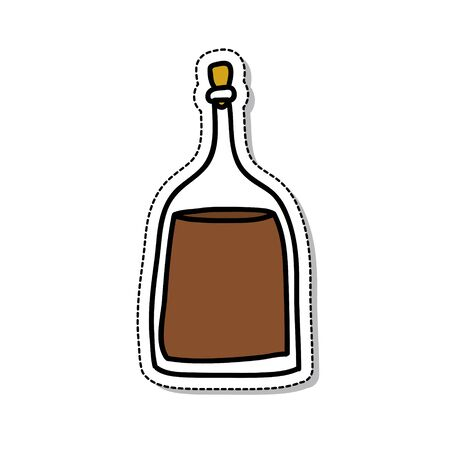 balsamic vinegar doodle icon, vector color illustration