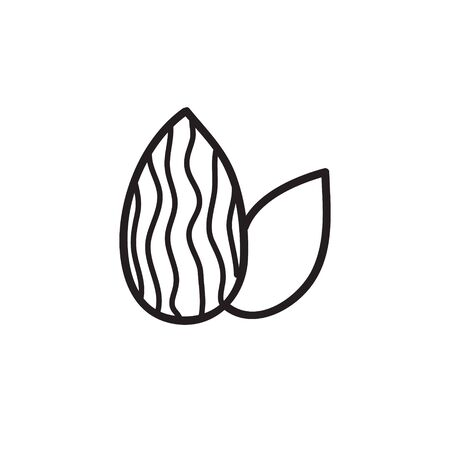almond doodle icon, vector color illustration 일러스트