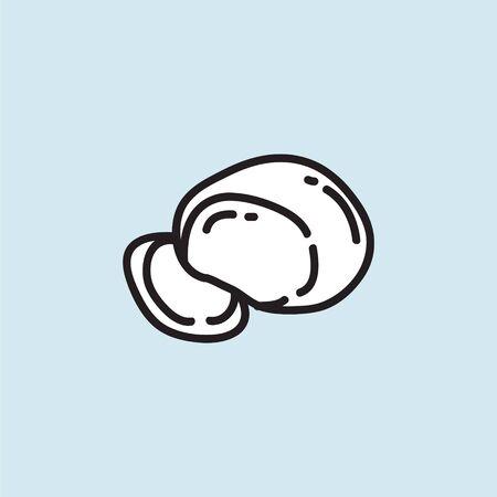 mozzarella doodle icon, vector color illustration