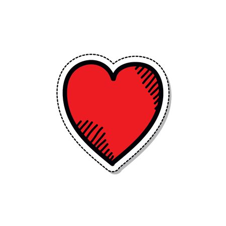 heart doodle icon, vector color illustration