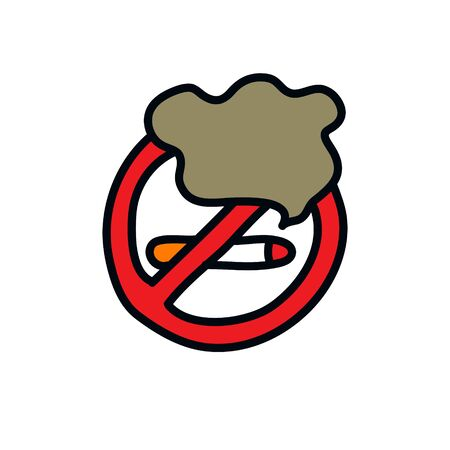 no smoking sign doodle icon, vector color illustration