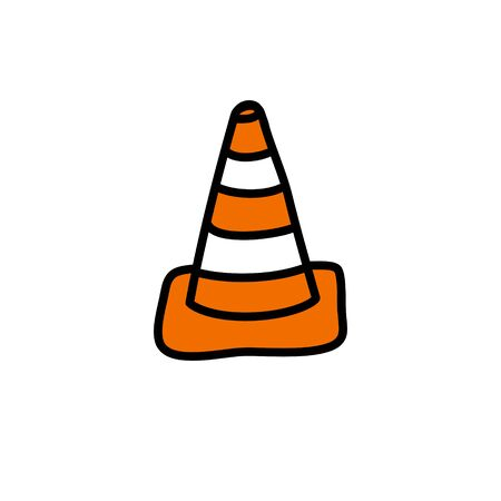 traffic cone doodle icon, vector color illustration
