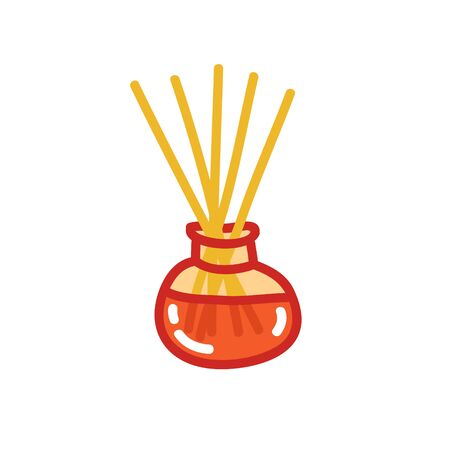 reed diffuser with essential oils doodle icon, vector color illustration