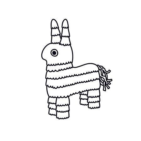 pinata doodle icon, vector color illustration