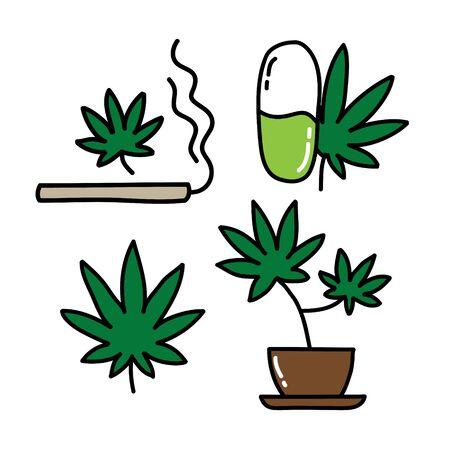 marijuana doodle icon, vector color illustration