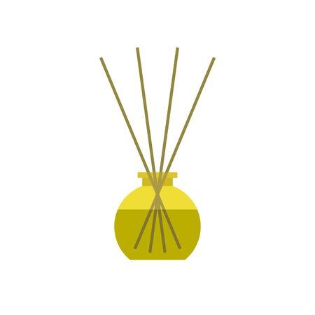 reed diffuser with essential oils flat icon, vector color illustration