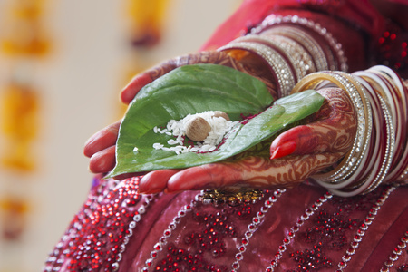 Close-up of a Brides hands performing marriage rituals with paan leaf and rice