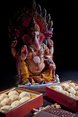 Sculpture of Ganesha with sweets, indian sweet