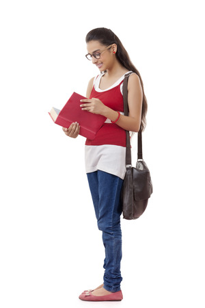 Full Length Of Pretty University Student With Books Over White Background