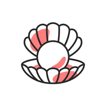 Shell with pearl vector template. Travel, seafood, jewelry   symbol, icon, emblem in linear style. Illustration