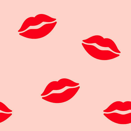 Lips seamless pattern. Red lips on a pink background. Elegant love passion background for Valentine's Day design.