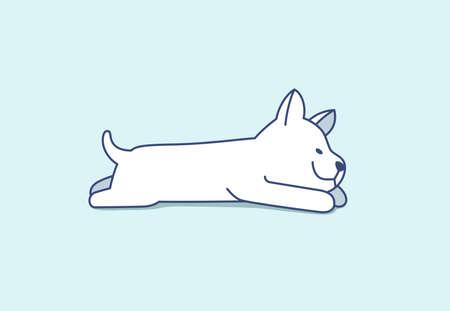 Cute little puppy of Siberian Husky lying, sleeping. Adorable nice small dog on light blue color.