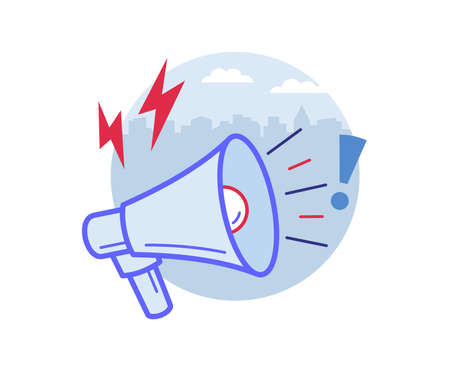 Bullhorn or loudspeaker or megaphone announcing the news, promotion, outbound marketing. Technology trigger about emerging something new.