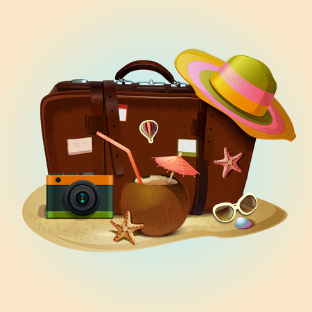 Retro travel suitcase vector icon. Travel elements and accessories vector illustration. Illustration