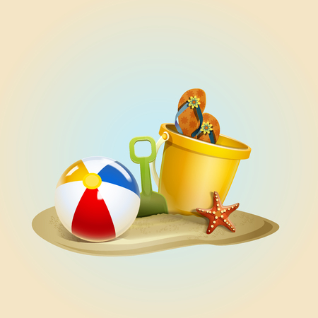 Beachball with sand and bucket for the beach. Summer illustration Illustration