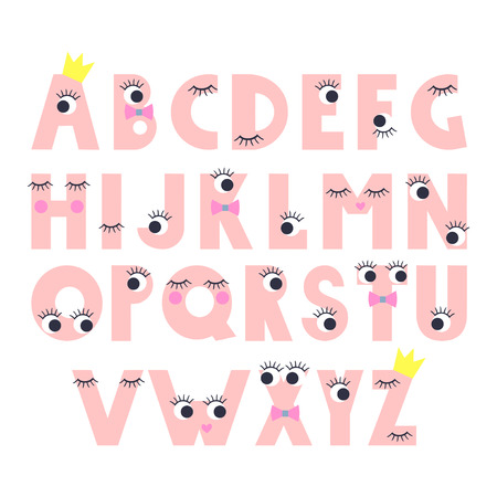 lashes: Cute abstract alphabet with cartoon eyes with lashes on white background.