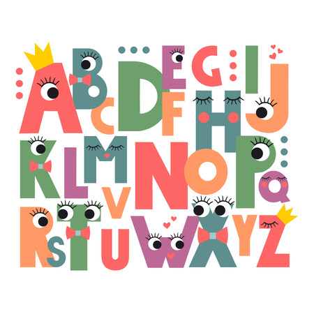 composition book: Cartoon alphabet with eyes and lashes on white background. Cute abc design for book cover, poster, card, print on babys clothes, pillow etc. Colorful letters composition.