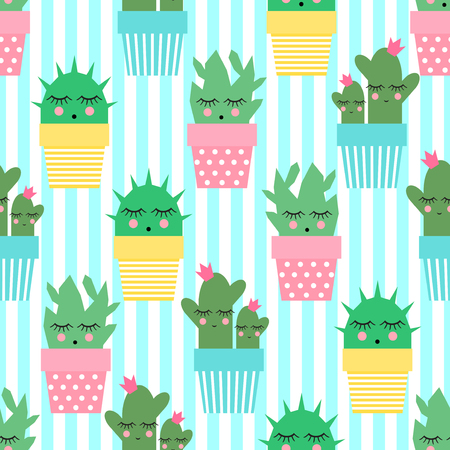 Cactus in cute pots seamless pattern on striped background. Simple cartoon plant vector illustration. Child drawing style cute sleeping cacti background. Design for fabric and decor. Vectores