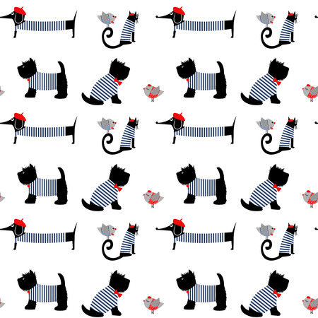 french style: French style dressed animals seamless pattern. Cute cartoon parisian dachshund, cat, birds and scottish terrier vector illustration. Cute design for print on babys clothes, textile, decor.