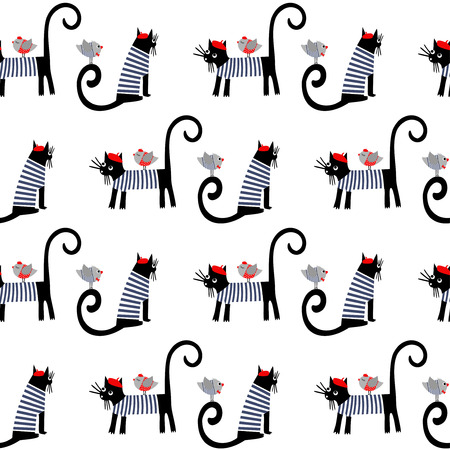 French style dressed animals seamless pattern. Cute cartoon parisian cats and birds vector illustration. Cute design for print on babys clothes, textile, decor.