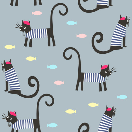 french style: Cute cartoon parisian cats and fish vector background. French style dressed animals seamless pattern. Cute design for print on babys clothes, textile, decor.