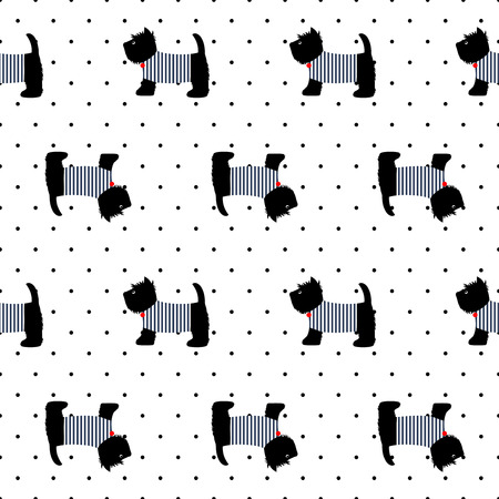 breton: Scottish terrier in a sailor t-shirt seamless pattern.Cute dogs on polka dots background illustration. French style dressed dog with red medal and striped frock. Design for textile, fabric and decor.