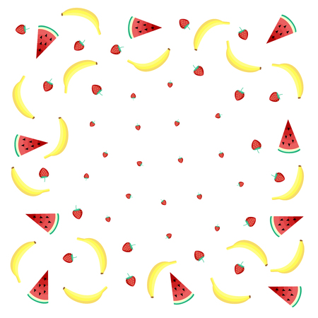 mix fruit: Fruits background with yellow bananas, watermelon and juicy strawberries on white background. Cute vector background. Bright summer fruits illustration. Fruit mix design card.