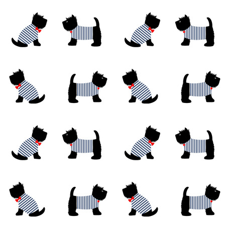 french style: Scottish terrier in a sailor t-shirt seamless pattern. Cute cartoon dogs on white background illustration. Child drawing style puppy background. French style dressed dogs in striped frocks.