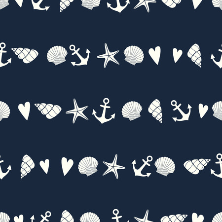 Nautical seamless pattern with starfish, shell and anchor. Cute marine life background. Sea theme. Design for fabric, textile, pillow and decor.