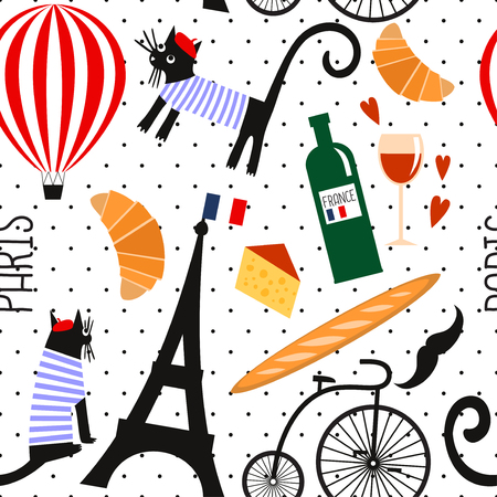 french culture: French culture symbols seamless pattern on polka dots background. Funny Paris illustration: wine, Eiffel tower, baguette, retro bicycle, mustache, cheese. Cute summer holidays Paris vector background. Illustration