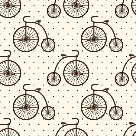 velocipede: Retro bicycle seamless pattern on polka dot background. Vintage transport illustration. Old bike background.