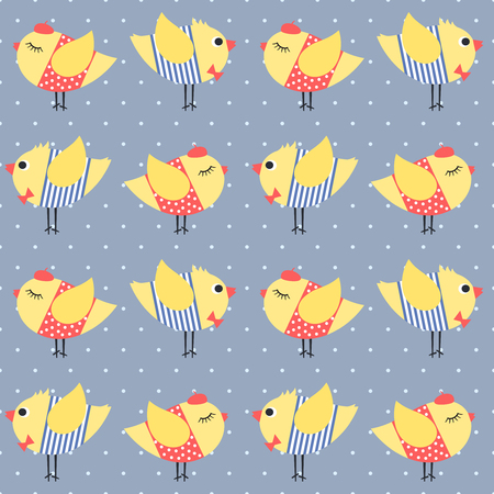 birdie: Birdie seamless pattern polka dots background. Cute cartoon girl and boy birds vector illustration. Chicks with red bow tie, beret, dress and striped frock. Cute design for print on babys clothes. Illustration
