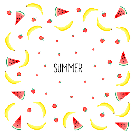 mix fruit: Summer card. Fruits design with yellow bananas, watermelon and juicy strawberries on white background. Cute vector background. Bright summer fruits illustration. Fruit mix design card.