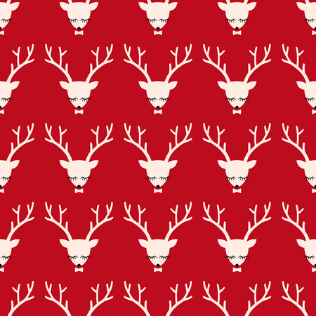 horny: Xmas deer head silhouette seamless pattern. Cute deer with bow background for Christmas holidays. Xmas deer Illustration. Animal head texture. Design for textile, wallpaper, web, fabric, decor etc.