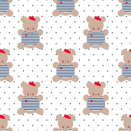 french style: Teddy bear seamless pattern on polka dot background. Cute cartoon french style dressed teddy bear vector illustration. Baby shower background. Fashion design for textile, wallpaper, fabric, decor etc.