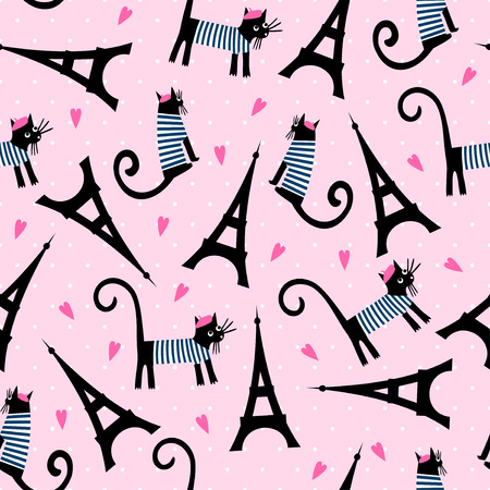 french style: Paris symbols seamless pattern. Cute cartoon parisian cat and tour Eiffel vector illustration on pink polka dots background. French style dressed cat with beret and striped frock. Illustration