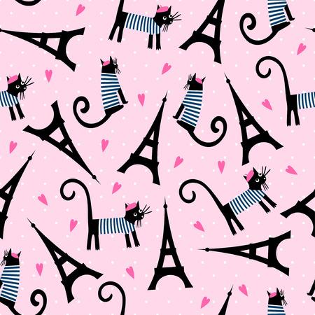 Symboles Paris seamless pattern. Cute cartoon chat parisien et tour Eiffel illustration vectorielle sur le rose à pois arrière-plan. style français habillé chat avec béret et rayé robe. Banque d'images - 60401224