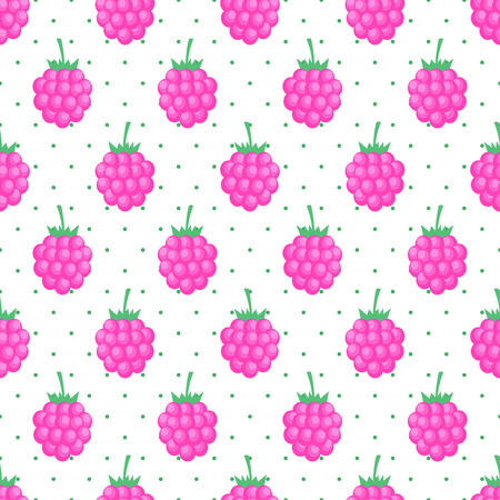 raspberry pink: Seamless background with pink raspberry. Cute vector raspberry pattern. Summer fruit illustration on polka dots background. Design for textile, wallpaper, web, fabric and decor.