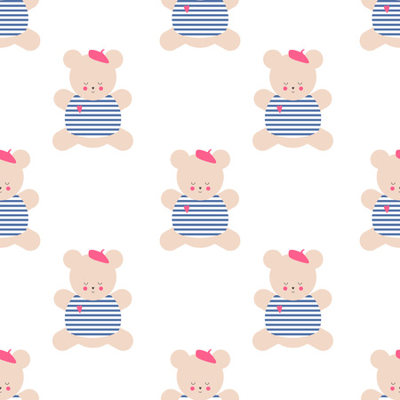 french style: Teddy bear seamless pattern. Cute cartoon french style dressed teddy bear vector illustration on white background. Baby shower background. Fashion design for textile, wallpaper, web, fabric, decor etc