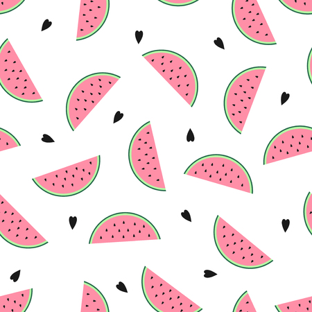 Seamless background with pink watermelon slices. Cute fruit pattern. Summer food vector illustration. Design for textile, wallpaper, web, fabric and decor.