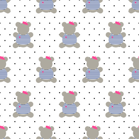french style: Teddy bear seamless pattern. Cute cartoon french style dressed teddy bear vector illustration on polka dots background. Fashion design for textile, wallpaper, web, fabric, decor etc. Illustration