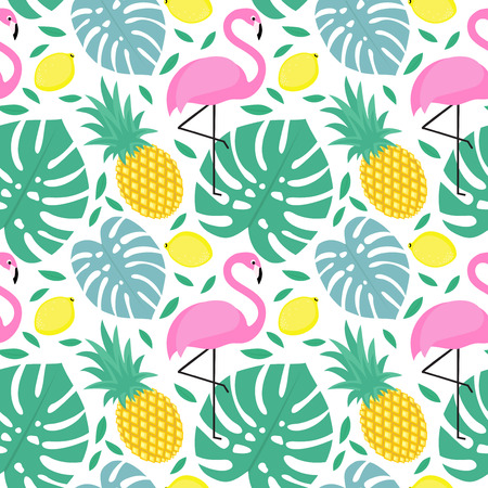 Seamless decorative pattern with flamingo, pineapple, lemons and green palm leaves. Tropical monstera leaves illustration with fruits and exotic bird.Fashion design for textile, wallpaper, fabric.