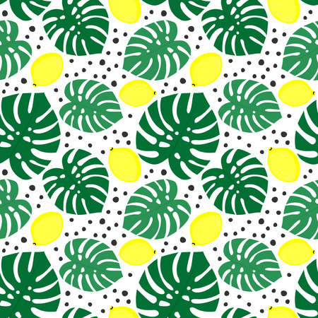 florida citrus: Seamless decorative background with yellow lemons and green palm leaves. Tropical monstera leaves pattern with lemons and dots. Trendy Jungle illustration. Design for textile, wallpaper, fabric etc.